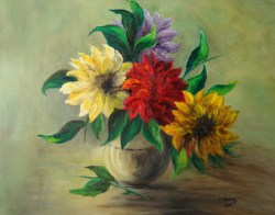 Flowers                 Oil on wood (50X60)            Price 800€